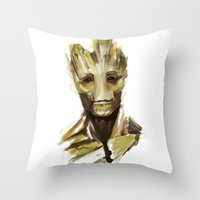 groot Throw Pillows featuring Groot by cos-tam