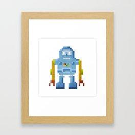 Blue pixel robot #1 Framed Art Print