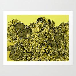 Squirrels Zentangle Drawing Yellow Art Print