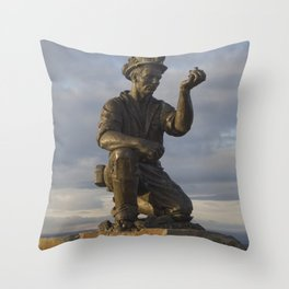 Miner testing for gas Throw Pillow
