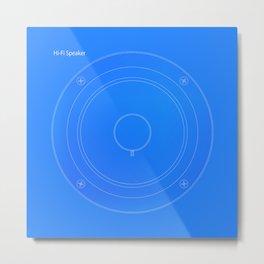 Hi Fi Speaker Cone Blueprint Metal Print