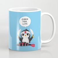 chef Mugs featuring Penguin Chef by Freeminds