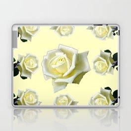 B&W WHITE ROSE GARDEN DESIGN PATTERN Laptop & iPad Skin