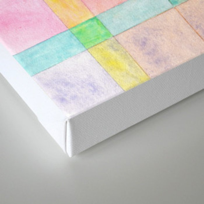 Pastel colored Watercolors Check Pattern Canvas Print