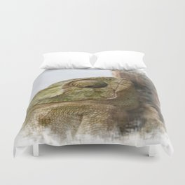 Close Up Of A Wild Green Chameleon Duvet Cover