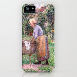 Camille Pissarro A Washerwoman at Éragny iPhone Case
