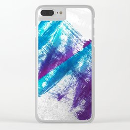 Cerulean Blue and Purple 90s Brush Abstract Clear iPhone Case
