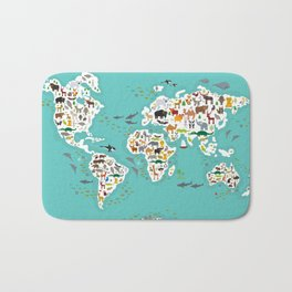 Cartoon animal world map for children and kids, Animals from all over the world Bath Mat
