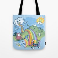 pasta Tote Bags featuring Rainbow Pasta by Ian Byers