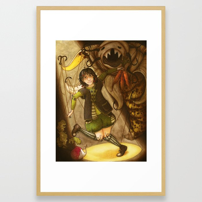 Puppet and banana Framed Art Print