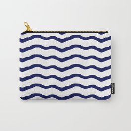 Maritime pattern- dark blue waves lines ond white  background Carry-All Pouch