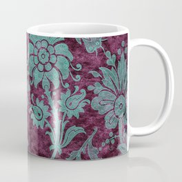 Burgundy Turquoise Velvet Floral Pattern 05 Coffee Mug