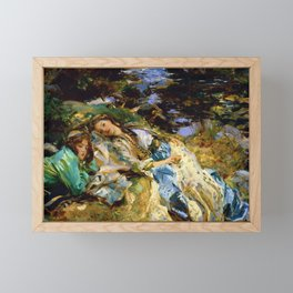 1907 Classical Masterpiece 'The Brook' by John Singer Sargent Framed Mini Art Print