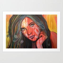 Abstract art portrait face woman girl painting ... Memories Art Print