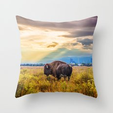 The Great American Bison Throw Pillow
