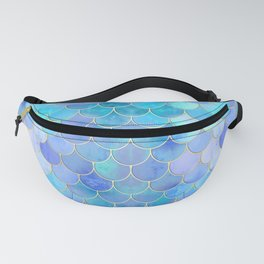 Aqua Pearlescent & Gold Mermaid Scale Pattern Fanny Pack
