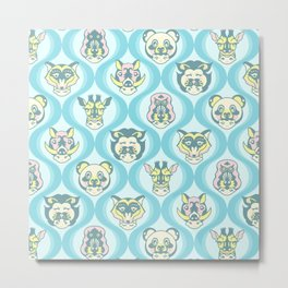 Baby Face Wearing Animal Hats Pattern - Teal Color Metal Print