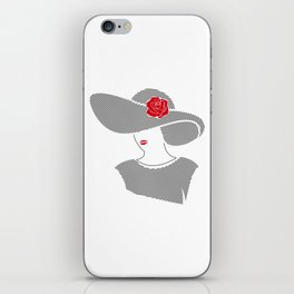 Spiral Portrait, woman line art, woman in hat, red rose art iPhone Skin