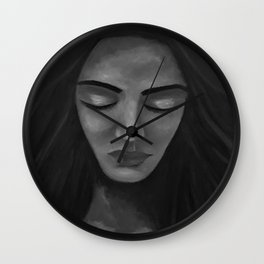 On My Mind by Lu, black-and-white Wall Clock