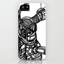 Robot 4 black and white iPhone Case