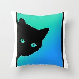 Black Cat Blue Green Tshirt Throw Pillow