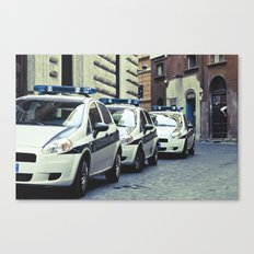 Police cars in Rome Canvas Print