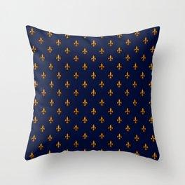 Blue & Gold Fleur-de-Lis Pattern Throw Pillow
