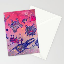 levitating monsters Stationery Cards
