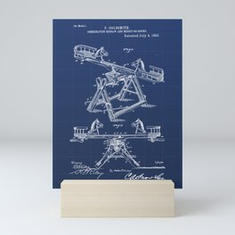 Combination Seesaw and Merry-go-round Vintage Patent Hand Drawing Mini Art Print