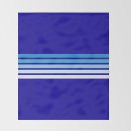 Retro Stripes on Blue Throw Blanket