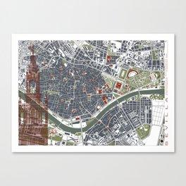Seville city map engraving Canvas Print