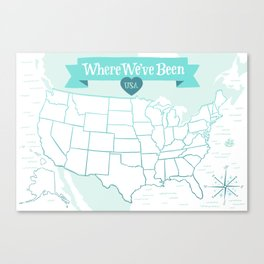 Where We've Been, USA, Icy Blue Canvas Print