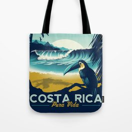 Costa Rica Retro Vintage Travel Poster Toucan Wave Surf Palm Trees Tote Bag