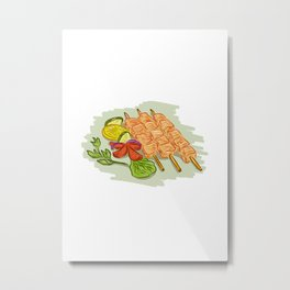 Chicken Kebabs Vegetables Drawing Metal Print