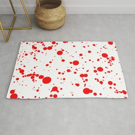 310001 Blood Red and White Painting Rug