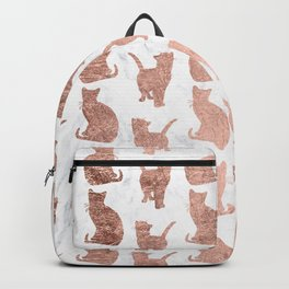 Modern faux rose gold cats pattern white marble Backpack