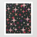 Purple, Red, Pink and White Stars in Dark Green by diardo