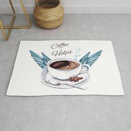 Life Happens Coffee Helps - Coffee Angel Rug