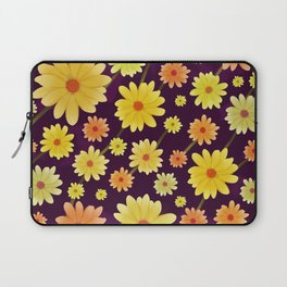 Yellow dots, Yellow Flower, Floral Pattern, Yellow Blossom Laptop Sleeve