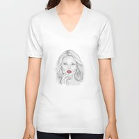 patriotic V-neck T-shirts featuring Patriotic Kate by Kim Jenkins