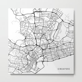 Singapore Map, Singapore - Black and White Metal Print