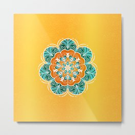 Blue, Orange & Yellow Flower Mandala Metal Print