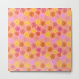 Hibiscus Hawaiian Flowers in Pinks and Corals on Peach Metal Print