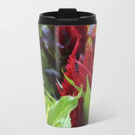 red , yellow, and pink flowers planted in the flower bed Travel Mug
