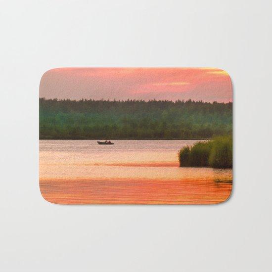 Summer sunset on Wild lake Bath Mat