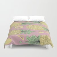 pineapples Duvet Covers featuring Pineapples by homotrippin