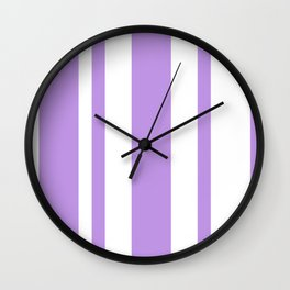 Mixed Vertical Stripes - White and Light Violet Wall Clock