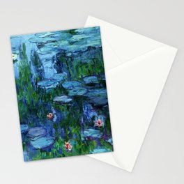 Claude Monet Water Lilies / Nymphéas Teal Stationery Cards