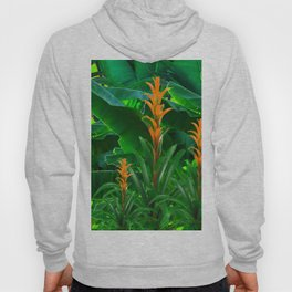 GREEN JUNGLE & TROPICAL CORAL BROMELIAD FLOWERS Hoody