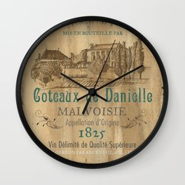 Barrel Wine Label 2 Wall Clock